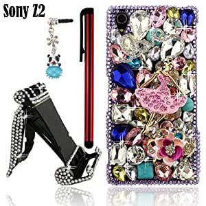Ancerson New Eye-catching 3D DIY Handmade Bling Pink Crystal Diamond Rhinestone Ballerina Purple Ballerina Rose Silvery Love Chain Royal Blue Raindrops Turquoise Clear Transparent Back Hard Protective Case Cover for Sony Xperia Z2 D6503 ----Free with a Red Stylus Screen Touch Pen and a Universal 3.5mm Lovely Blue Panda Dust Plug and a Crystal Handmade Mobile Holder Phone Stand