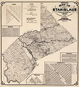Amazon.com: 1906 Old Historical Map Stanislaus County
