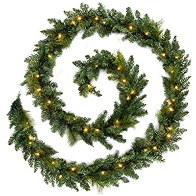 Christmas Garlands Prelit with warm White LED Lights in 9ft and 12 ft