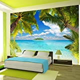 poster 220 mural g ant 366 x 254 cm plage et cocotier en 8 parties grandes dimensions. Black Bedroom Furniture Sets. Home Design Ideas