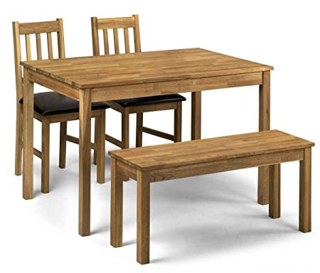 Julian Bowen Coxmoor Solid Oak Dining Table with Chairs and Bench, Size: Table H 75cm, W 75cm, L 118cm