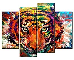 SmartWallArt® - Animal Paintings Wall Art Colorful Tiger Head Close Up Paint 4 Panel Picture Print on Canvas for Modern Home Decoration