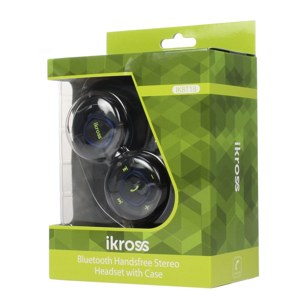 Bluetooth гарнитура для телефона iKross A2DP Bluetooth Stereo Headphone Headset with Black Carrying Case -Hands Free calling for Samsung Galaxy S3 S III I9300