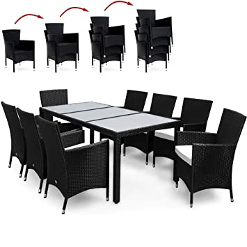 Rattan Dining Table Set 9 Pieces Outdoor Patio Garden Furniture Stackable Black Chairs Rectangular 8 Seater Table Top