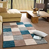 Flair Rugs Infinite Inspire Squared Handtufted Rug, Teal/Duck Egg, 160 x 230 Cm by Flair Rugs