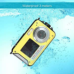 Amkov 24MP Underwater, Shockproof and Dustproof Digital Camera with Dual Full-color LCD Displays, 16X Digital Zoom, and Fully Waterproof for up to 10 Feet Yellow
