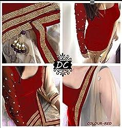 Mastani Kreation Red Velvet Embroidedred Unstitched Dress Materials