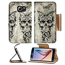 buy Msd Samsung Galaxy S6 Flip Pu Leather Wallet Case Tattoo Art Sketch Of A Death Over Old Paper Image 25613010