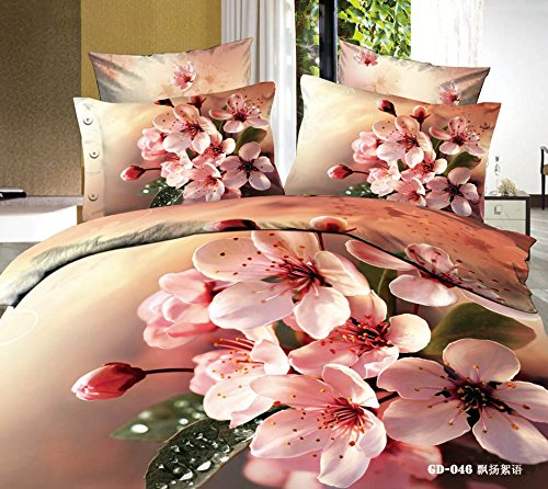 Queen King Size 100% Cotton 7-Pieces 3D Pink Flowers Khaki Coffee Floral Prints Fitted Sheet Set With Rubber Around Duvet Cover Set/Bed Linens/Bed Sheet Sets/Bedclothes/Bedding Sets/Bed Sets/Bed Covers/ Comforters Sets Bed In A Bag (Queen) front-688327