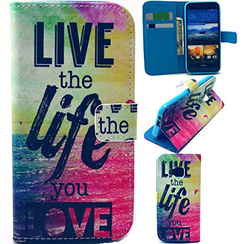M9 Case,HTC One M9 Wallet Case,Gift_Source [Perfect Fit] Luxury Wallet PU Leather Case Flip Cover Built-in Card Slots & Stand For HTC One M9 Case (Live the life you love),Sent Screen Protector + Stylus Pen