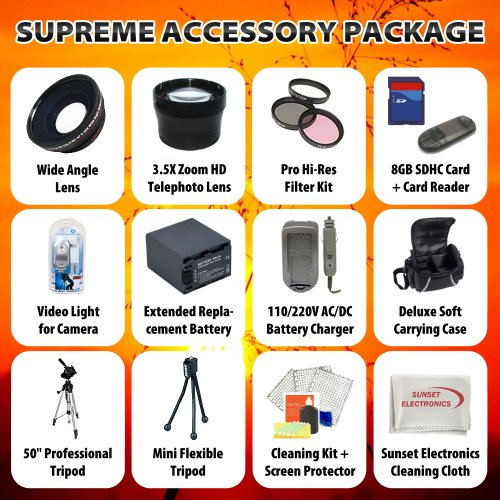 Supreme Accessory Package For The Sony HDR-AX2000 AVCHD Camcorder Package Includes Extended Life Sony NP-F970 Info-Lithium Replacement Battery Pack, Rapid 110/220V Home & Car Charger, 8GB Hi Speed Error Free Memory, Professional Wide Angle Lens, Pofession