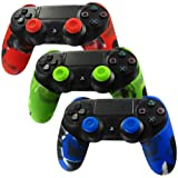 Skin for PS4 Controller Pandaren Soft Silicone Thicker Half Skin Cover Grip for PS4 /SLIM /PRO Controller Set (Skin X 3 + Thumb Grip X 6)(Camouflage Red,Blue,Green) (Color: Camouflage(Red,Green,Blue), Tamaño: PS4 Thicker Half Cover)