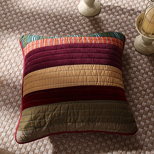 "DaDa Bedding Cotton Classical Desert Sands Real Patchwork Quilted Pillow Cushion Cover Accent Case Set - Striped Autumn Warm Tones Multi-Color Print - 18"" x 18"" 2-Pieces"