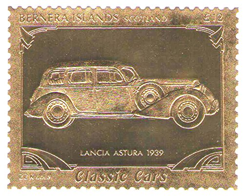 22k-carat-gold-leaf-auto-classic-cars-stamps-lancia-astura-1939-bernera-islands-scotland-mnh