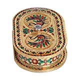 "Lavender Craft CAPSULE Shaped Handmade Meenakari Decorative Platter/Dry Fruit Box - G.M. (5.1"" X 9.1"" X 1.5"" Inches)"
