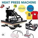 YiiYYaa Heat Press Machine 15x15 Inch Multifunctional Sublimation Auto-Countdown Heat Presser for T Shirts Mug Hat Swing Away (15x15 Inch 5 in 1) (Tamaño: 15x15 Inch 5 in 1)