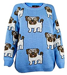 The Home of Fashion Womens Sky Blue Pug Dog Print Long Sleeved Chunky Knitted Jumper