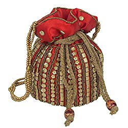 Beautiful Ladies Girls Women Traditional Small Potli Bag Red MPN-potli_5