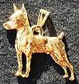 Miniature Pinscher Dog 24k Gold Plated Pewter Pendant