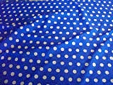 Blue / White Polka Dot Polycotton Fabric (Per Metre)