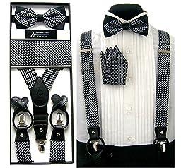 Men\'s Formal Black & White Convertible Suspenders Pre-tied Bow Tie & Hanky Set in Box