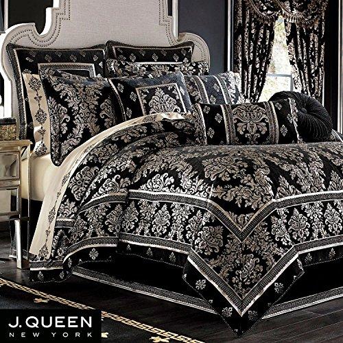 J.Queen Portofino Queen Comforter Set, Black Jacquard (J Queen New York Pillows compare prices)