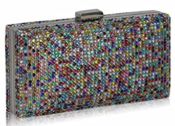 KCMODE Womens Multi Colour Crystals Sparkly Diamante Evening Clutch Bag