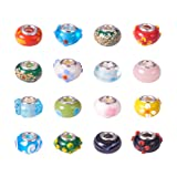 PH PandaHall 100PCS 14x9mm Lampwork European Beads Handmade Large Hole Glass Beads with Double Core for European Charm Bracelet Jewelry Making, Mixed Styles (Color: Lampwork-100pcs-upgraded 3, Tamaño: 14x9mm)