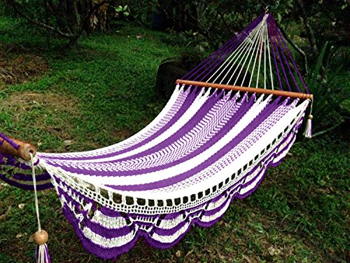 Artisan Handwoven Hammock 13 Ft 2 Person 500 Lbs (Purple/white)