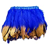 wanjin Duck Goose Feathers Trim Fringe Craft Feather Clothing Accessories Pack of 2 Yards(Royal Blue and Gold) (Color: 1,royal Blue and Gold)