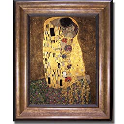 The Kiss by Gustave Klimt Premium Bronze-Gold Framed Canvas (Ready-to-Hang)