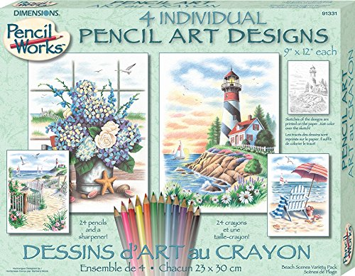Dimensions Needlecrafts Paintworks/Pencil by Number, Beach Scenes Variety Pack (Color Pencil By Number compare prices)
