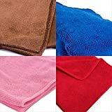 #8: Tex Home Set of 4 Microfibre Towel Cloth for Cleaning Cars, Furniture, Home, 60 cm * 40 cm Red, Blue, Brown, Pink Microfiber towel