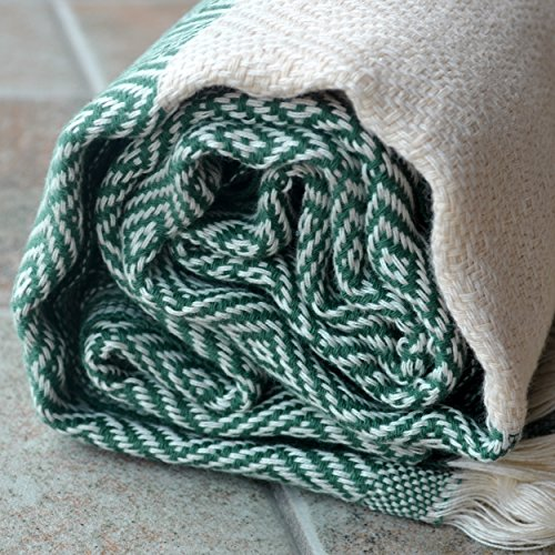 Diamond - Olive Green Turkish Towel Peshtemal - 100% Natural Dyed Cotton - for Beach Spa Bath Swimming Pool Hammam Sauna Yoga Pilates Fitness Gym Picnic Blanket (Dandelion Textile)