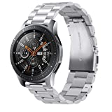 Kartice Compatible Samsung Galaxy Watch (46mm) Bands, 22mm Galaxy Watch Band Solid Stainless Steel Metal Replacement Bracelet Strap fit Samsung Galaxy Watch SM-R800 Smart Watch (46mm)-Silver (Color: Silver)