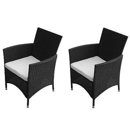 Festnight Gartenstuhl-Set 2 Stucke Gartensessel Stuhle aus Poly Rattan Gartensitzgruppe mit 2 Kissen fur Terrasse Garten Schwarz
