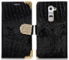 myLife Ninja Black Crocodile Diamond Buckle Series {Country Design} Faux Leather (Multipurpose - Card, Cash and ID Holder + Magnetic Closing) Folio Slimfold Wallet for the LG G2 Smartphone (External Textured Synthetic Leather with Magnetic Clip + Internal Secure Snap In Closure Hard Rubberized Bumper Holder)