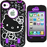 Hello Kitty Hybrid Case for iPhone 4 4G 4S Purple High Impact Cute Bow Cover + Free Front/Back Screen Protector & Stylus