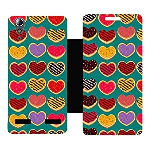Skintice Designer Flip Cover with Vinyl wrap-around for Lenovo A6000 , Design - Donuts