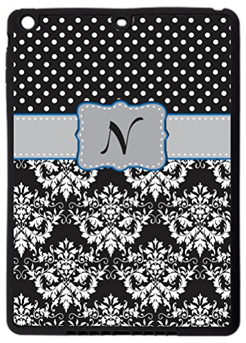 "Rikki Knighttm Rikki Knight Initial ""N"" Grey Blue Black Damask Dots Monogrammed Ipad Air Smart Case For Apple Ipad® Air - Full Coverage Ultra-Thin Smart Cover With Automatic Wake And Sleep And Facetime, Movie, And Keyboard Stand front-596967"