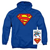 Superman Classic Logo Pull-Over Hoodie Sweatshirt (X-Large) (Color: Royal, Tamaño: X-Large)
