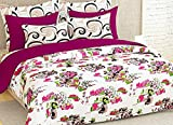 Story@Home Elegant Floral Print Double Bedsheet With 2 Pillow Covers 100% Cotton Satin Double Size Printed bedspread, Beige