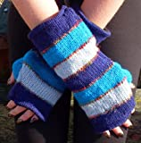 FAIR TRADE WOOL & SILK STRIPE FLEECE LINED FINGERLESS TUBE GLOVES WRIST WARMERS (Blue Mix) images