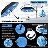 NEWBRELLAs Creative Upside Down Self-standing Inverted Umbrella for Driver with J Curved Leather Handle and Perfect Day Sky Print- Lifetime Guarantee