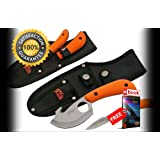 FIXED BLADE HUNTING SHARP KNIFE 2 Piece Orange Gut Hook & Caping Blade Skinner Kit Combat Tactical Knife + eBOOK by Moon Knives