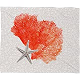 DENY Designs 60 by 50-Inch Hadley Hutton Coral Sea Collection 4 Fleece Throw Blanket, Medium