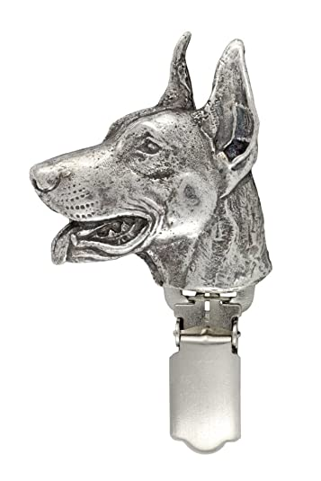 Dobermann, Silver Hallmark 925, dog clipring, dog show ring clip/number holder, limited edition, ArtDog