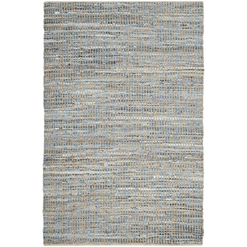 Safavieh Cape Cod Collection CAP352A Hand Woven Natural and Blue Cotton Area Rug, 6 feet by 9 feet (6' x 9')