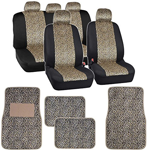 Two Tone Cheetah Seat Covers Floor Mats for Car Truck SUV Auto Accessories (Animal Print Seat Covers For Suv compare prices)