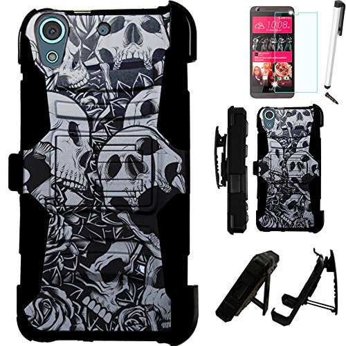 Click to buy For HTC Desire 625 (Cricket) Armor Hybrid Case Silicone Cover Kick Stand LuxGuard Holster+[WORLD ACC®] LCD Screen Protector+Stylus+Dust Cap (Skull Rose/Black) - From only $10.99